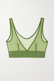 Bare Sporty lace-trimmed stretch-tulle soft-cup bra