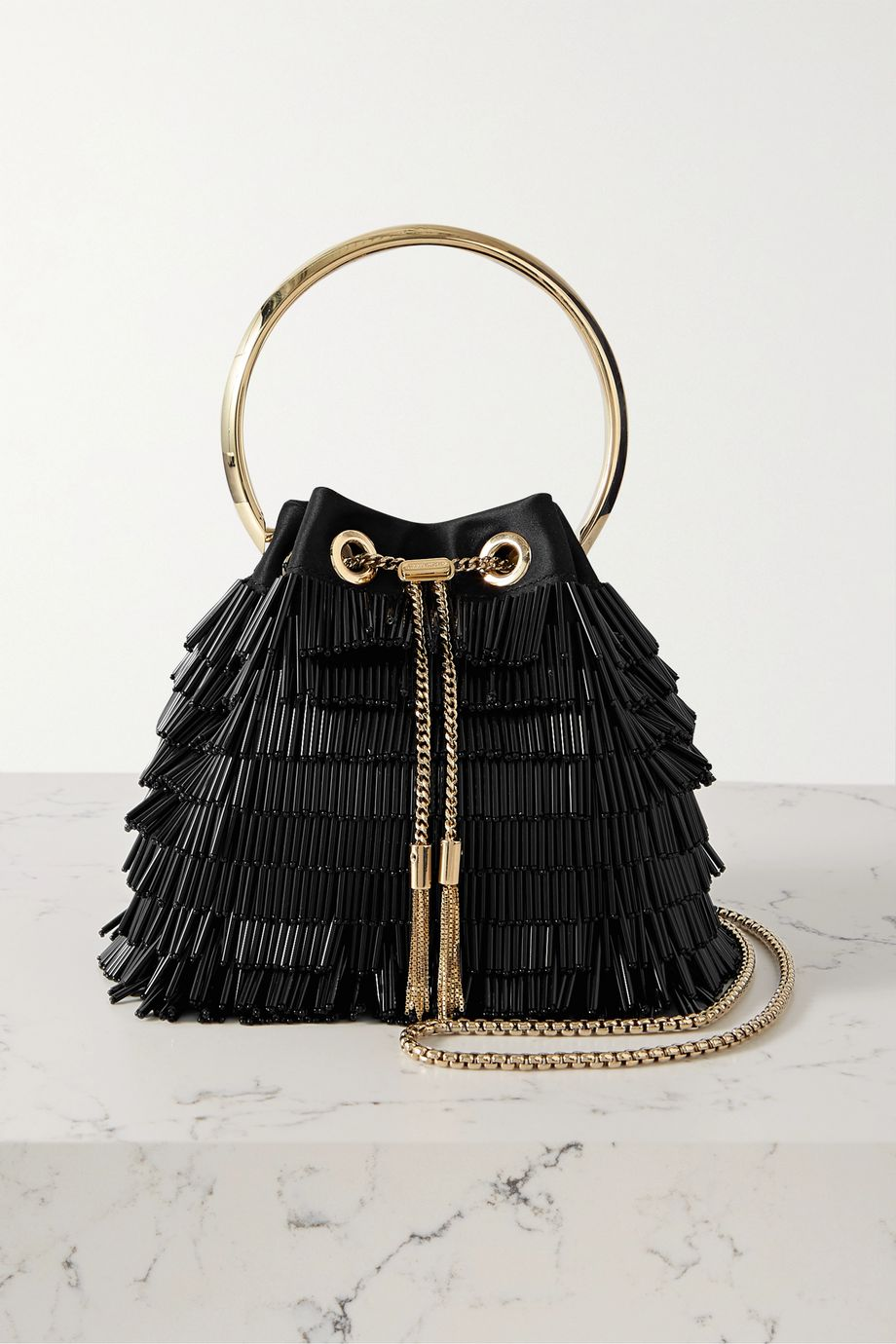 Jimmy Choo Bon Bon beaded satin shoulder bag