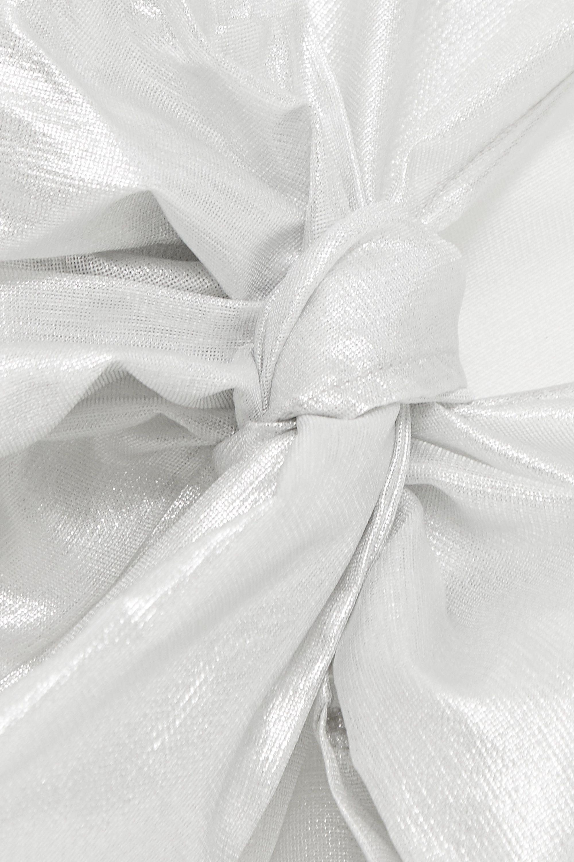 MaisonCléo Julie metallic silk-mesh wrap top