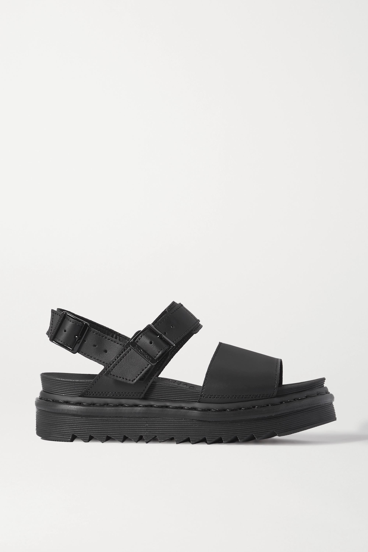 Black Voss leather platform slingback