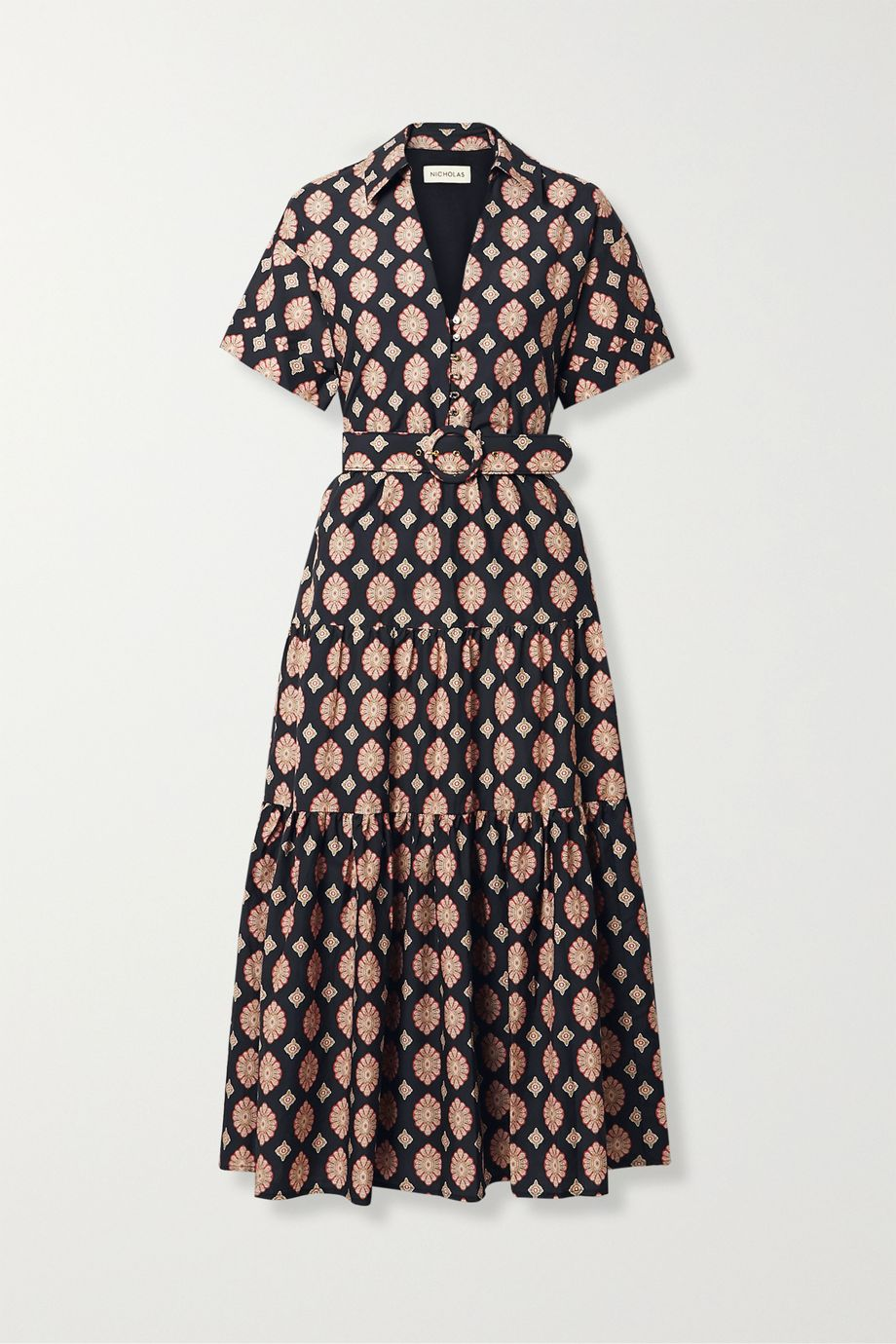 NICHOLAS Amina belted printed cotton and silk-blend maxi dress