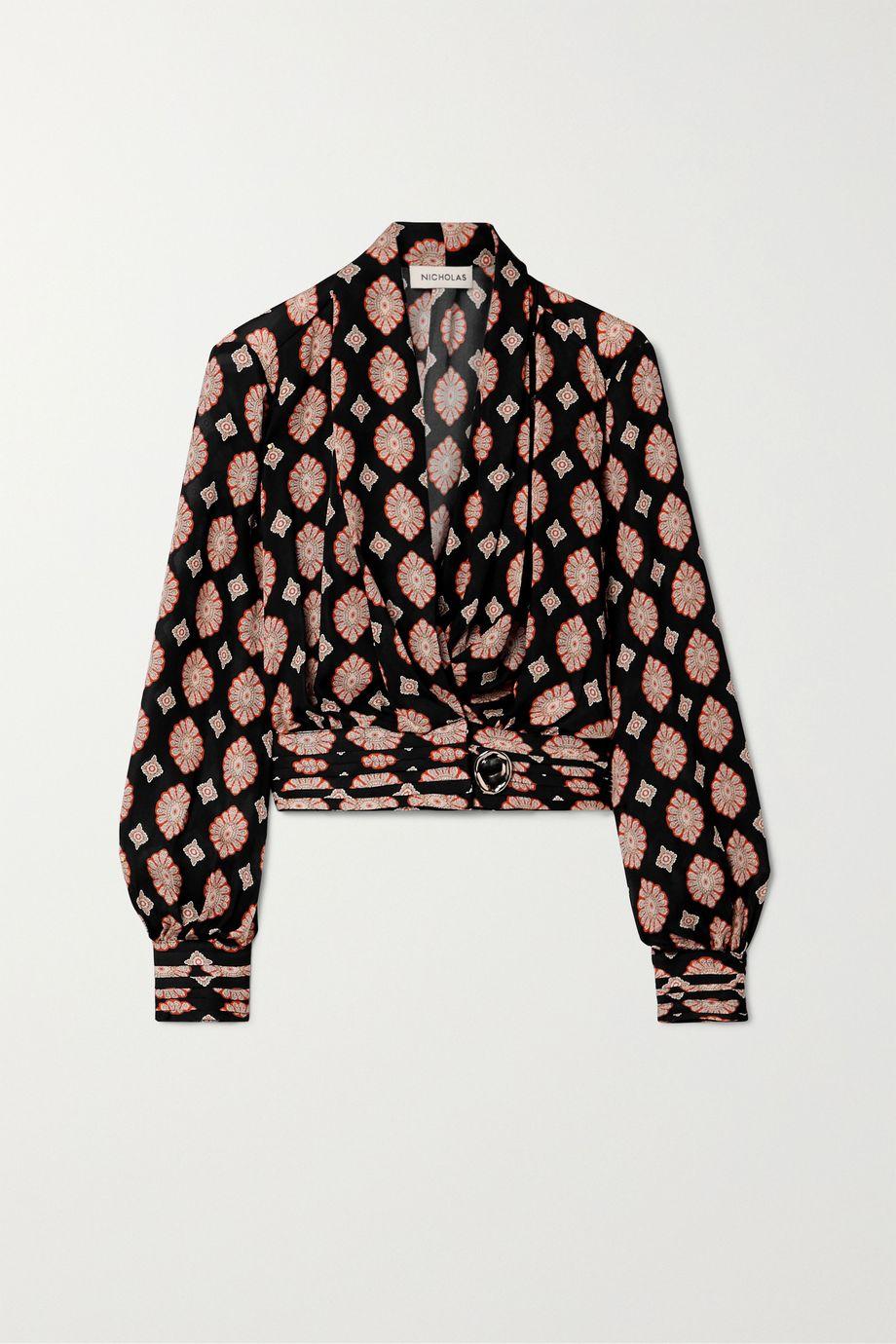 NICHOLAS Shaila printed silk crepe de chine wrap top