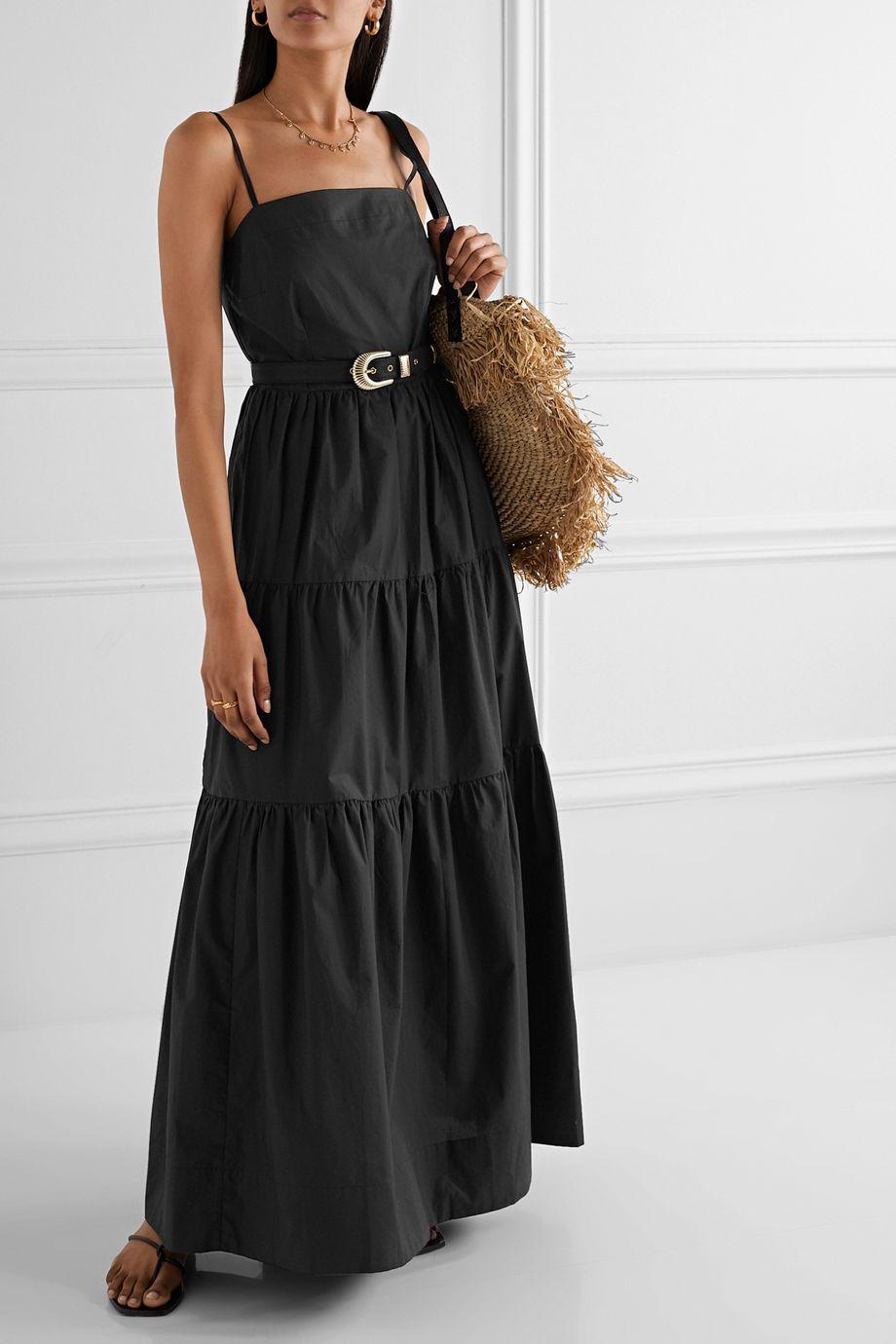 NICHOLAS Kerala belted tiered cotton-poplin maxi dress