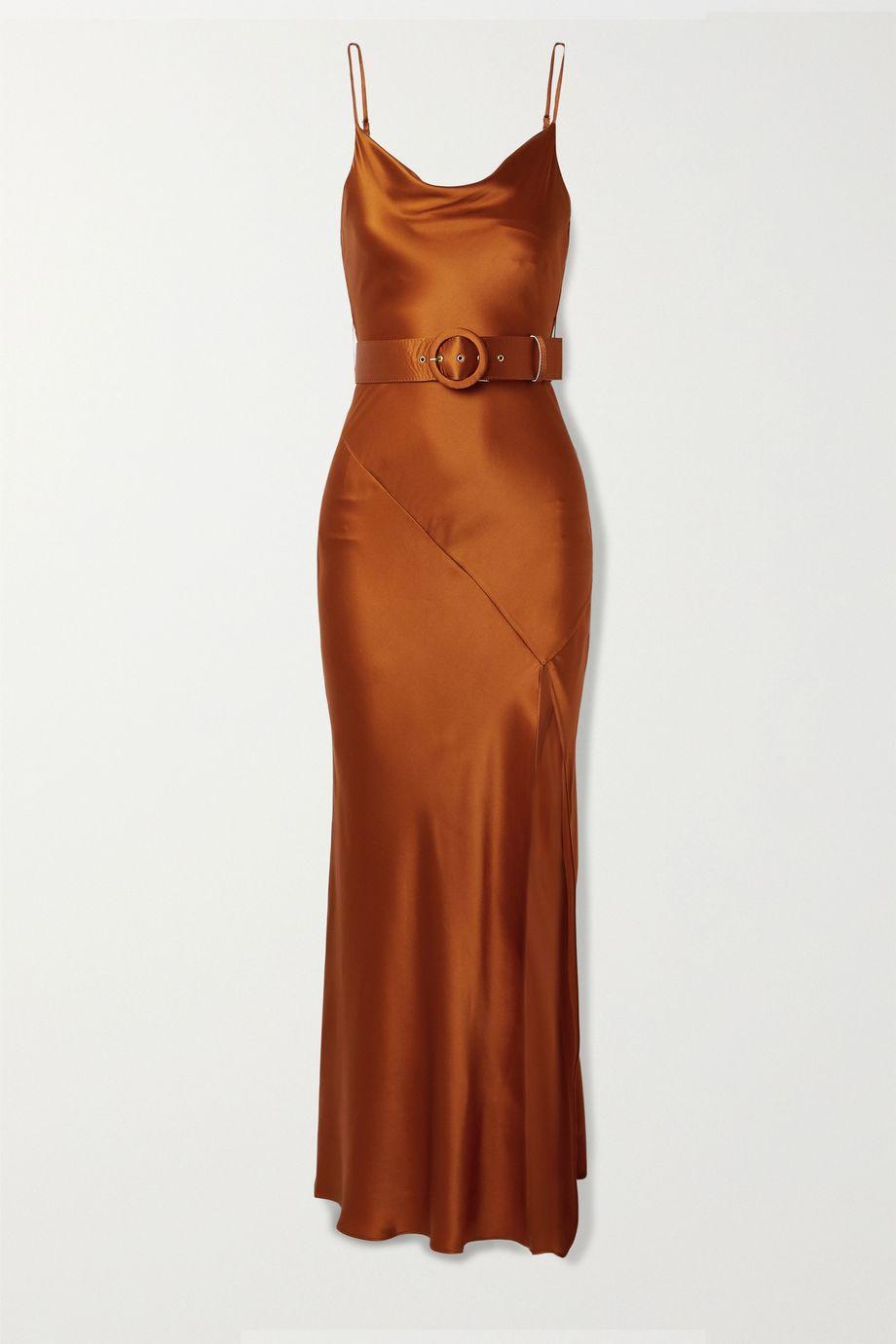 NICHOLAS Simone belted silk-satin maxi dress
