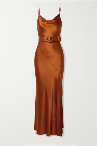 Nicholas Dresses Simone belted silk-satin maxi dress
