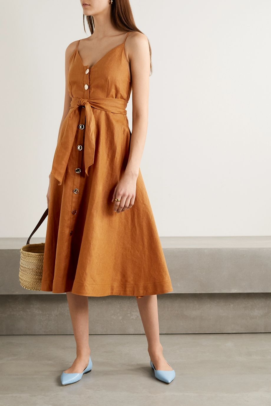 NICHOLAS Orissa belted linen midi dress