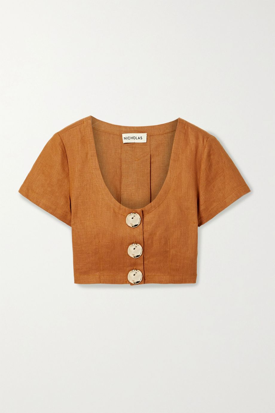 NICHOLAS Lou pleated linen cropped top