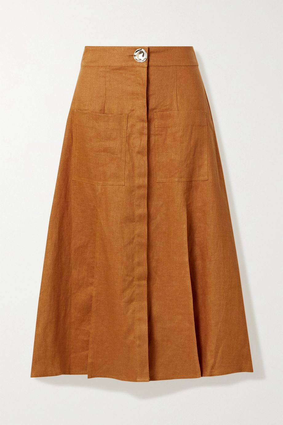 NICHOLAS Masala linen midi skirt