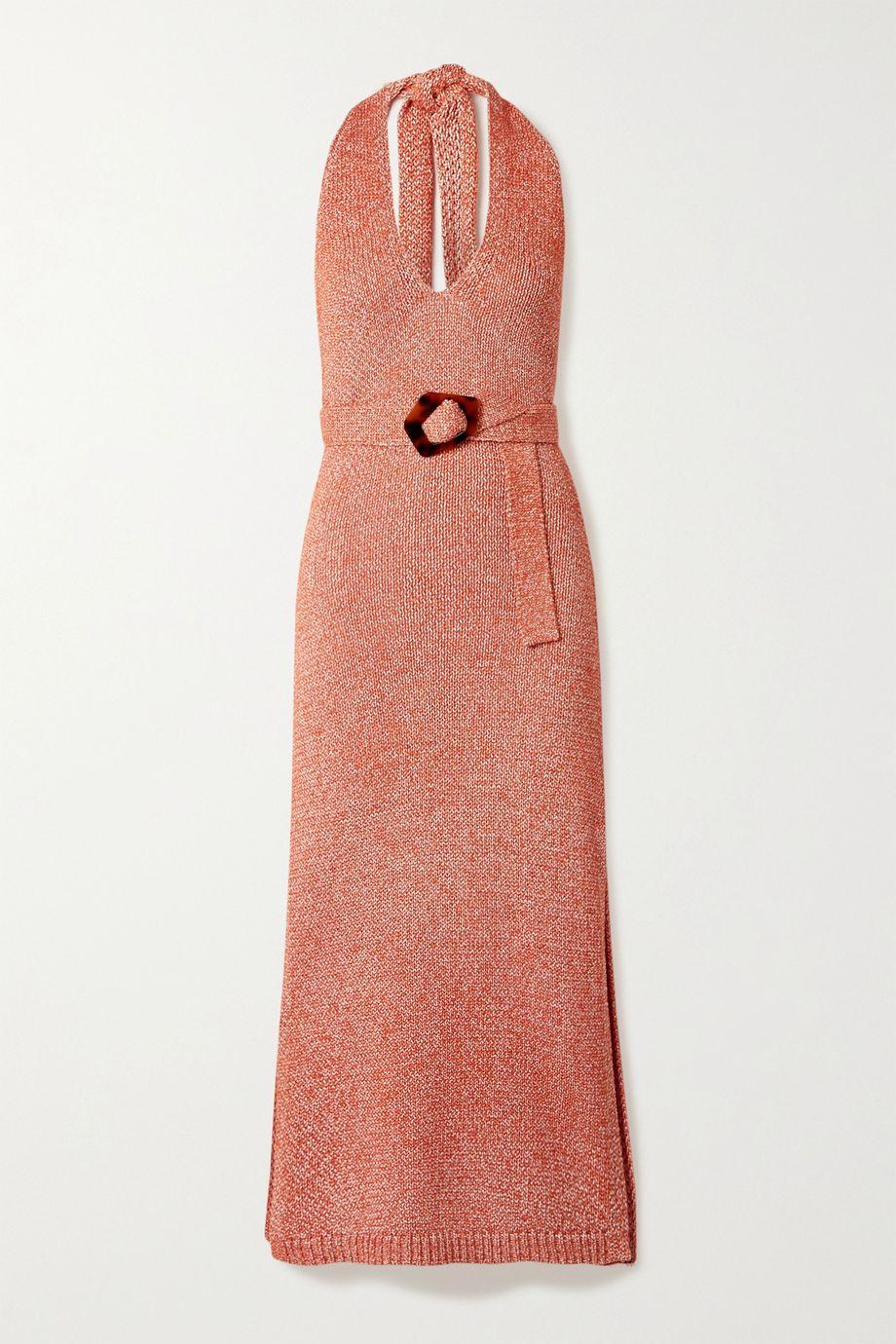 NICHOLAS Harissa mélange cotton-blend halterneck midi dress
