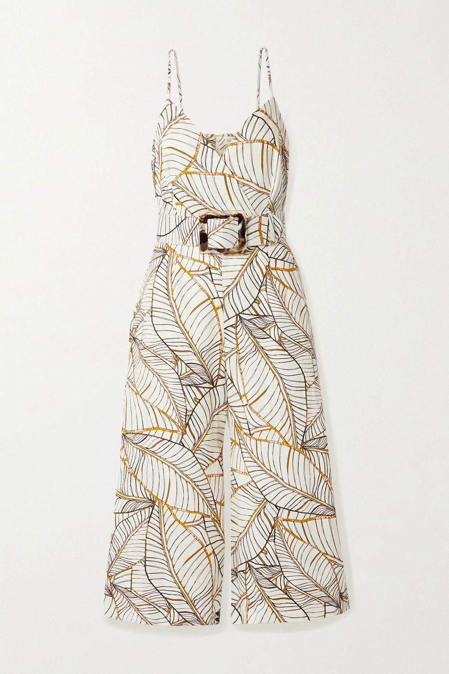 NICHOLAS Seta belted printed linen jumpsuit