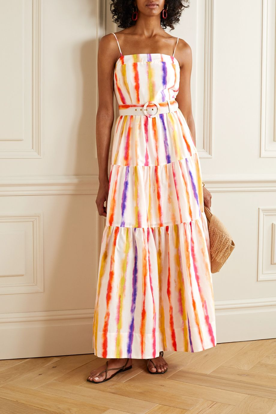NICHOLAS Kerala belted printed cotton and silk-blend maxi dress
