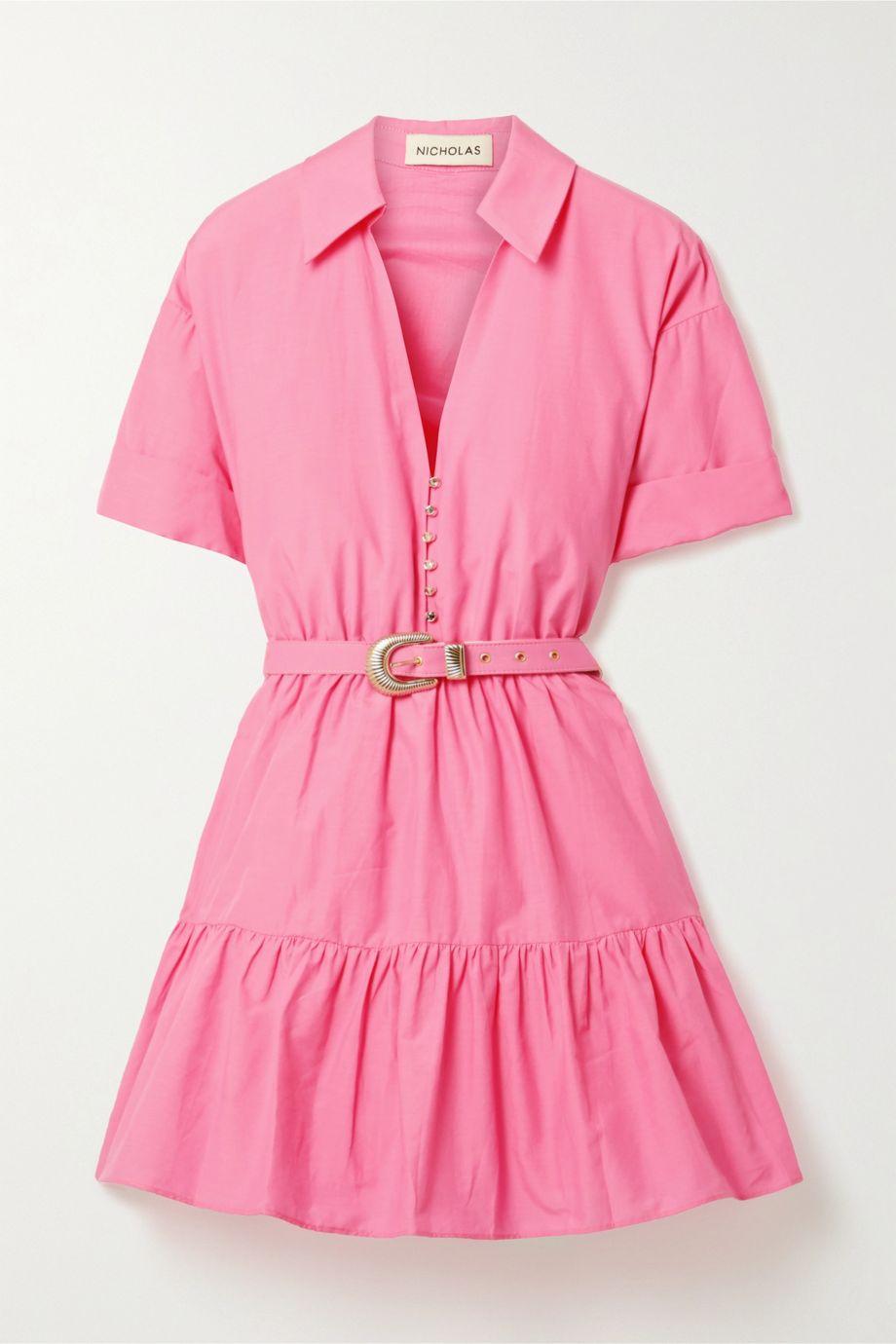 NICHOLAS Salma belted cotton and silk-blend mini dress