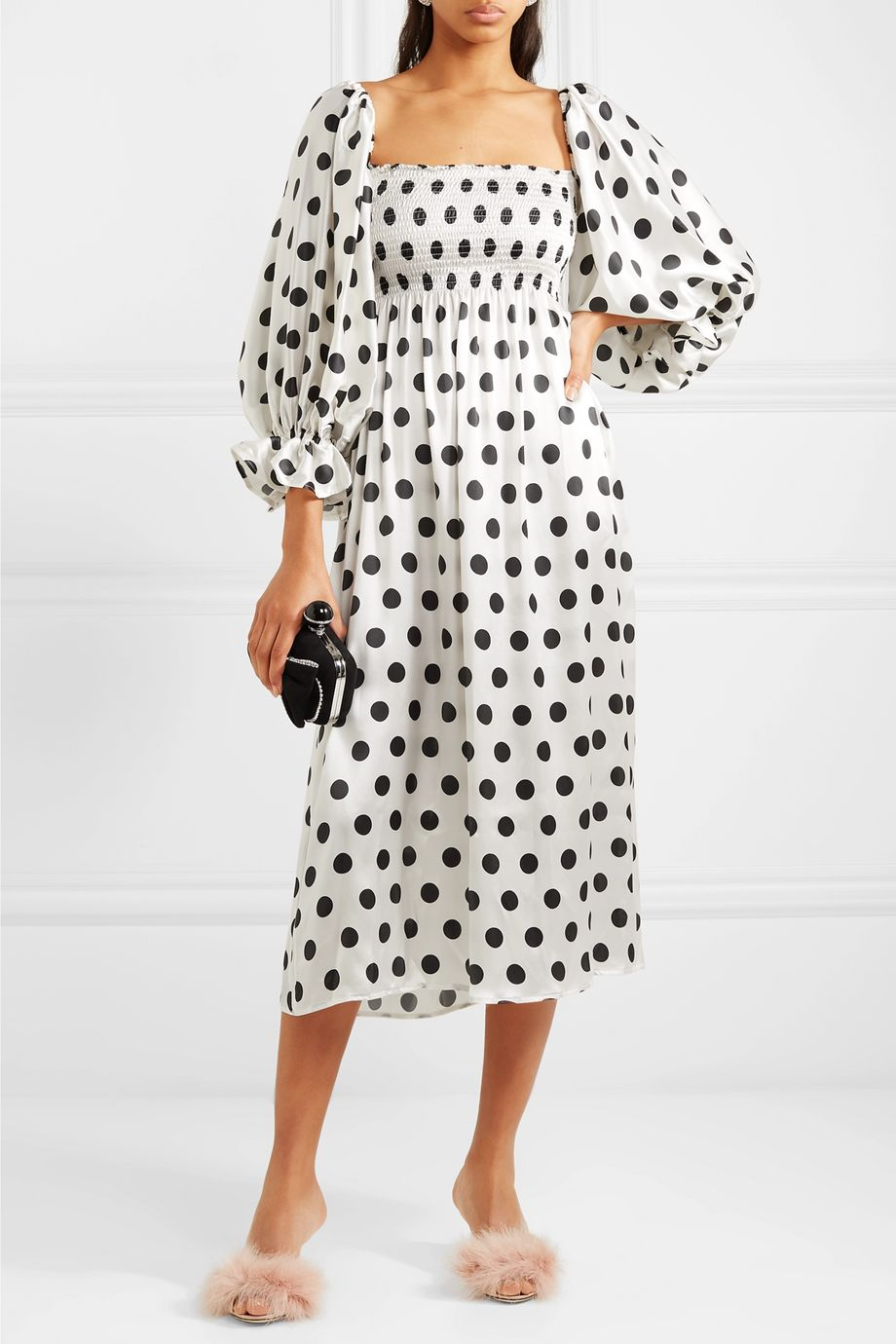 Sleeper Atlanta off-the-shoulder shirred polka-dot silk-satin midi dress