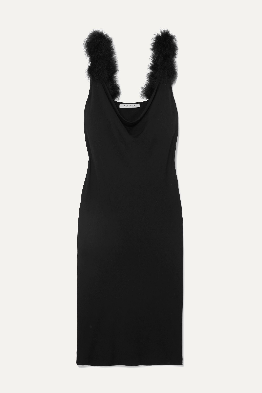 Sleeper Feather-trimmed draped crepe midi dress