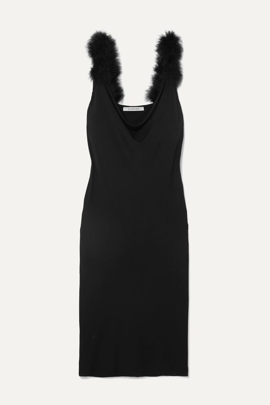 Sleeper Feather-trimmed draped crepe midi dress
