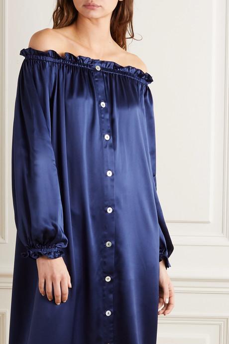Off-the-shoulder ruffled silk-satin midi dress