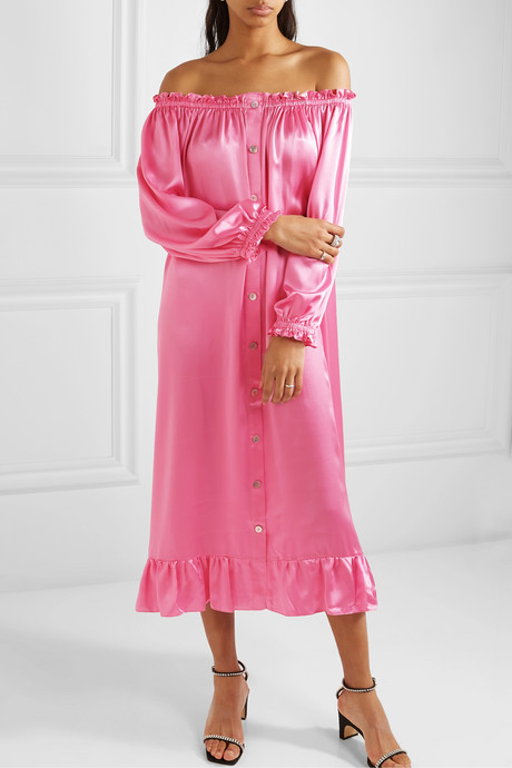 Zephyr ruffled off-the-shoulder silk-satin midi dress