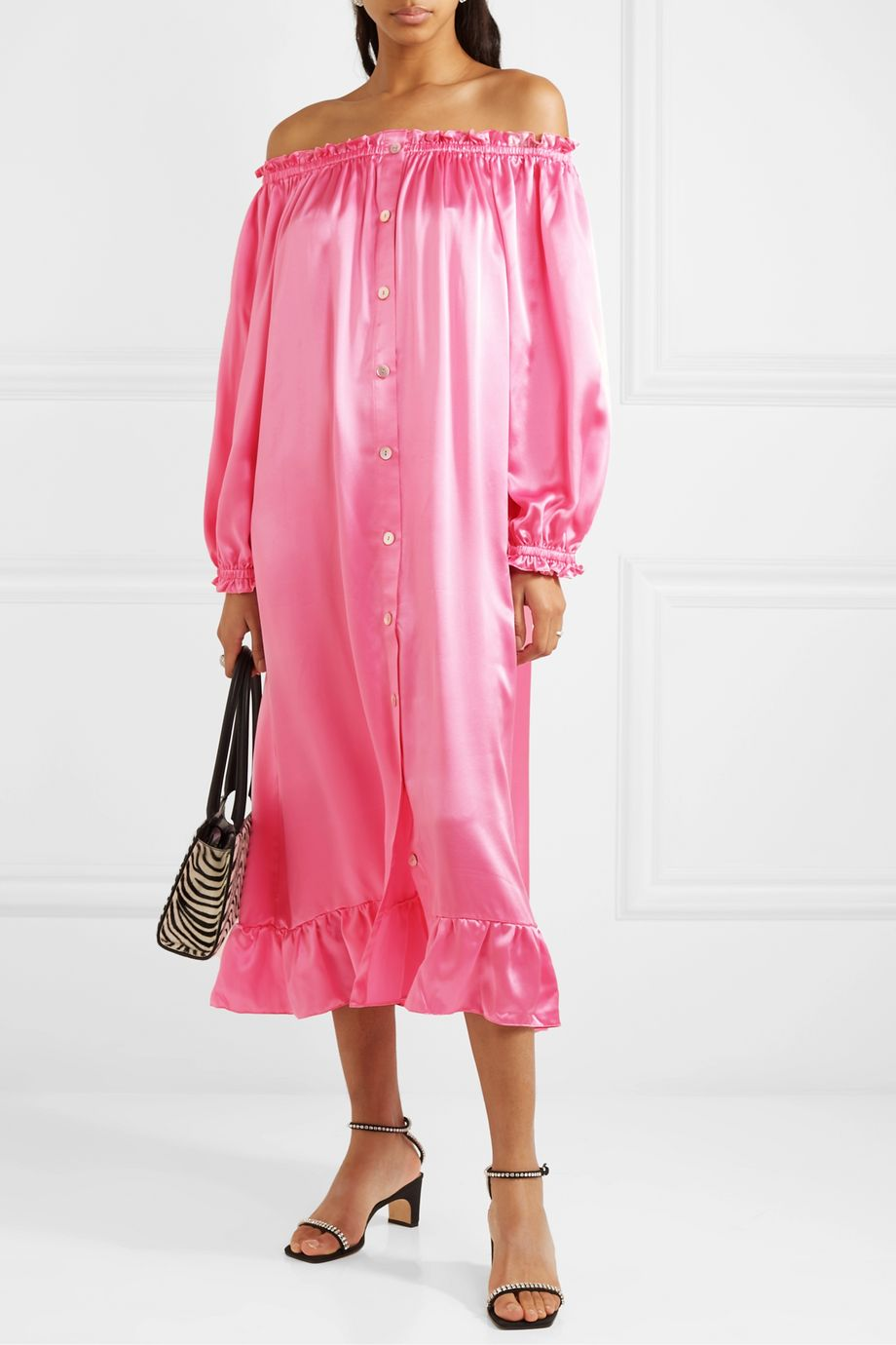 Sleeper Zephyr ruffled off-the-shoulder silk-satin midi dress