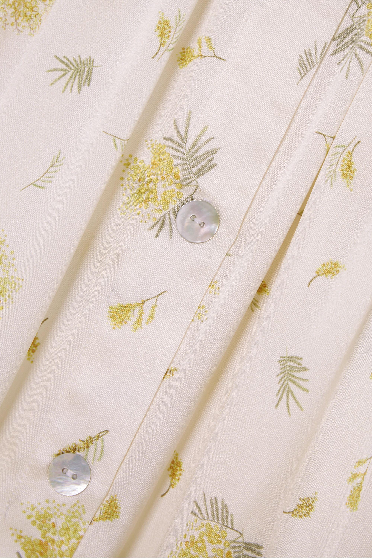 Sleeper Schulterfreies Midikleid aus Seidensatin mit Blumenprint und Rüschen