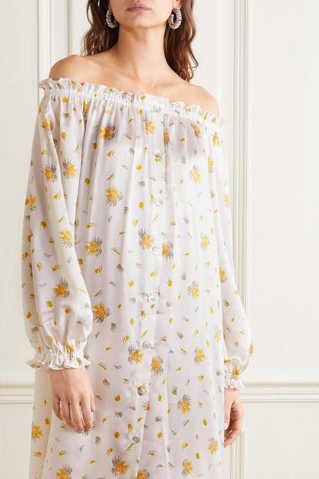 Ruffled off-the-shoulder printed silk-satin midi dress