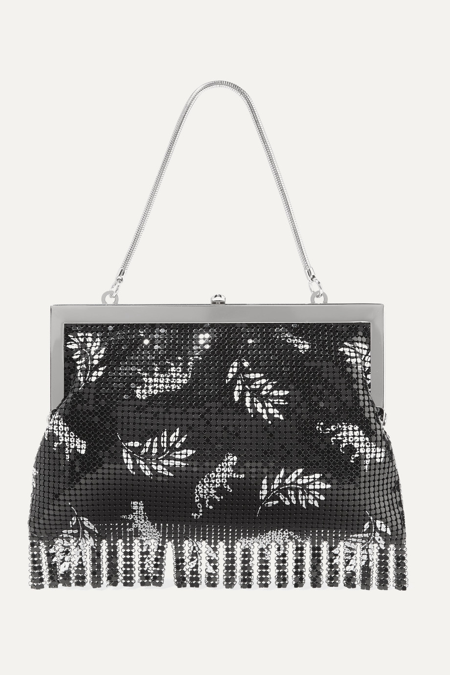 HVN Zoe fringed printed chainmail tote