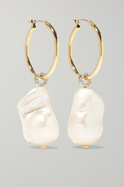 Mateo 14-karat gold, pearl and diamond earrings