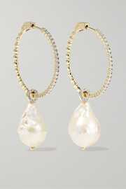 Mateo 14-karat gold, pearl and diamond hoop earrings