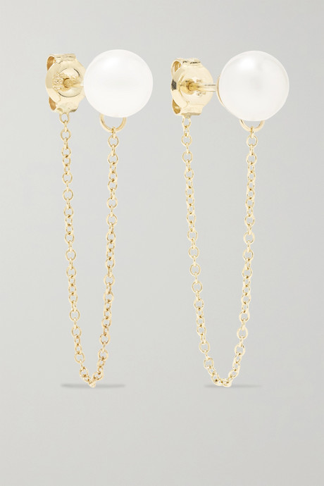 Gold 14-karat gold pearl earrings | Mateo K0JVZG