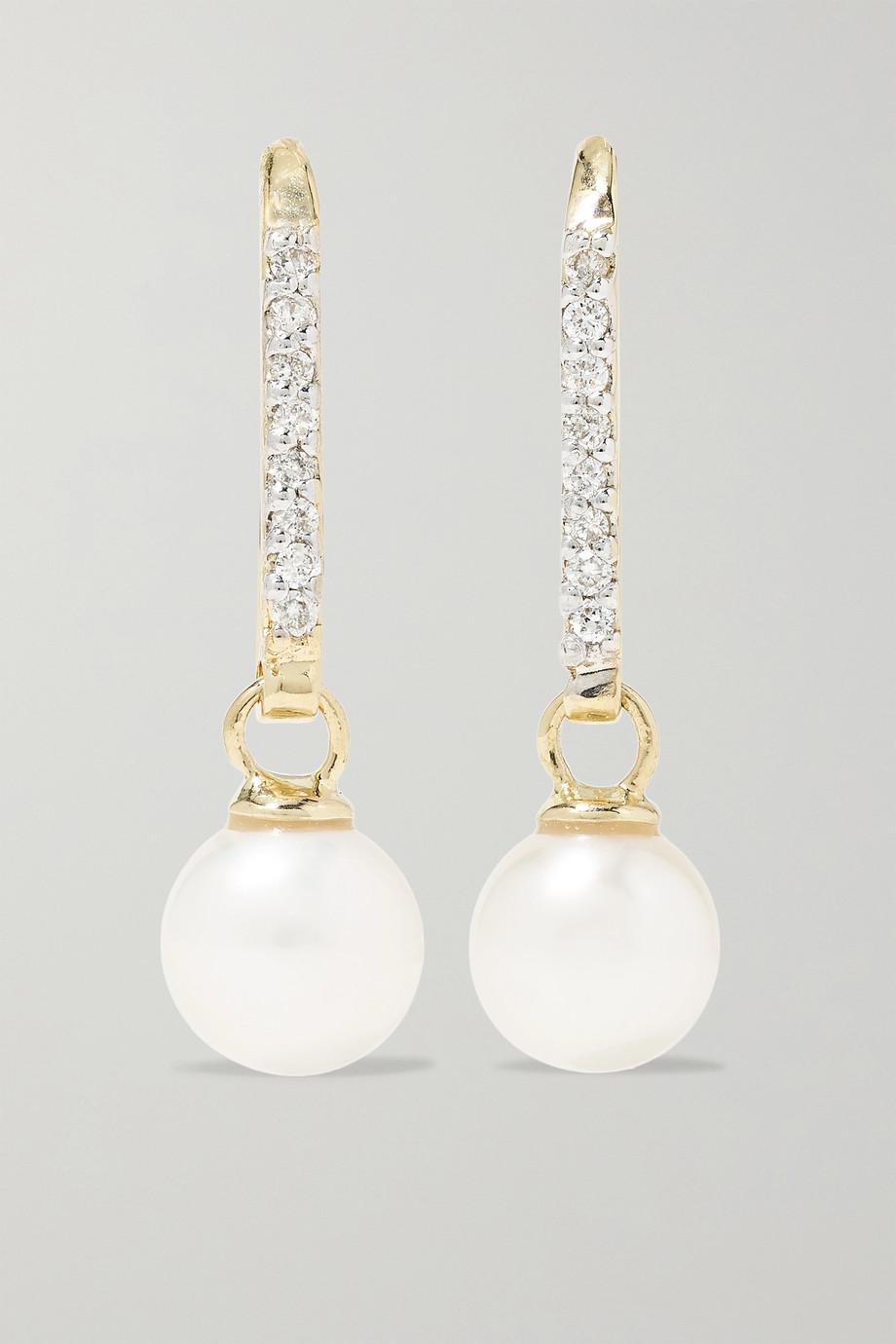 Mateo Ohrringe aus 14 Karat Gold mit Perlen und Diamanten