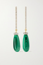 Mateo 14-karat gold, malachite and diamond earrings