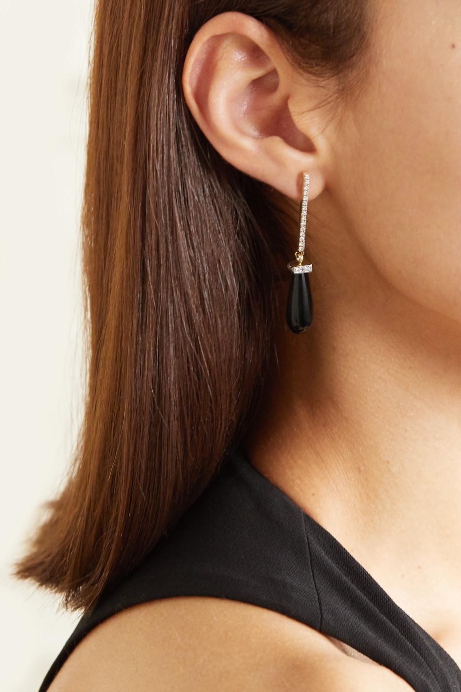 Mateo 14-karat gold, onyx and diamond earrings