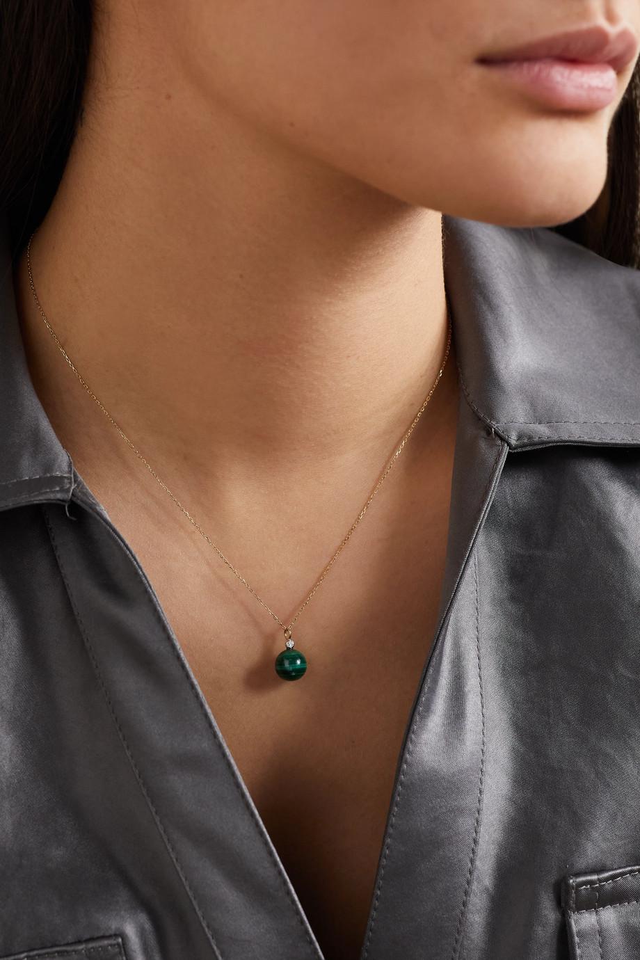 Mateo 14-karat gold, malachite and diamond necklace