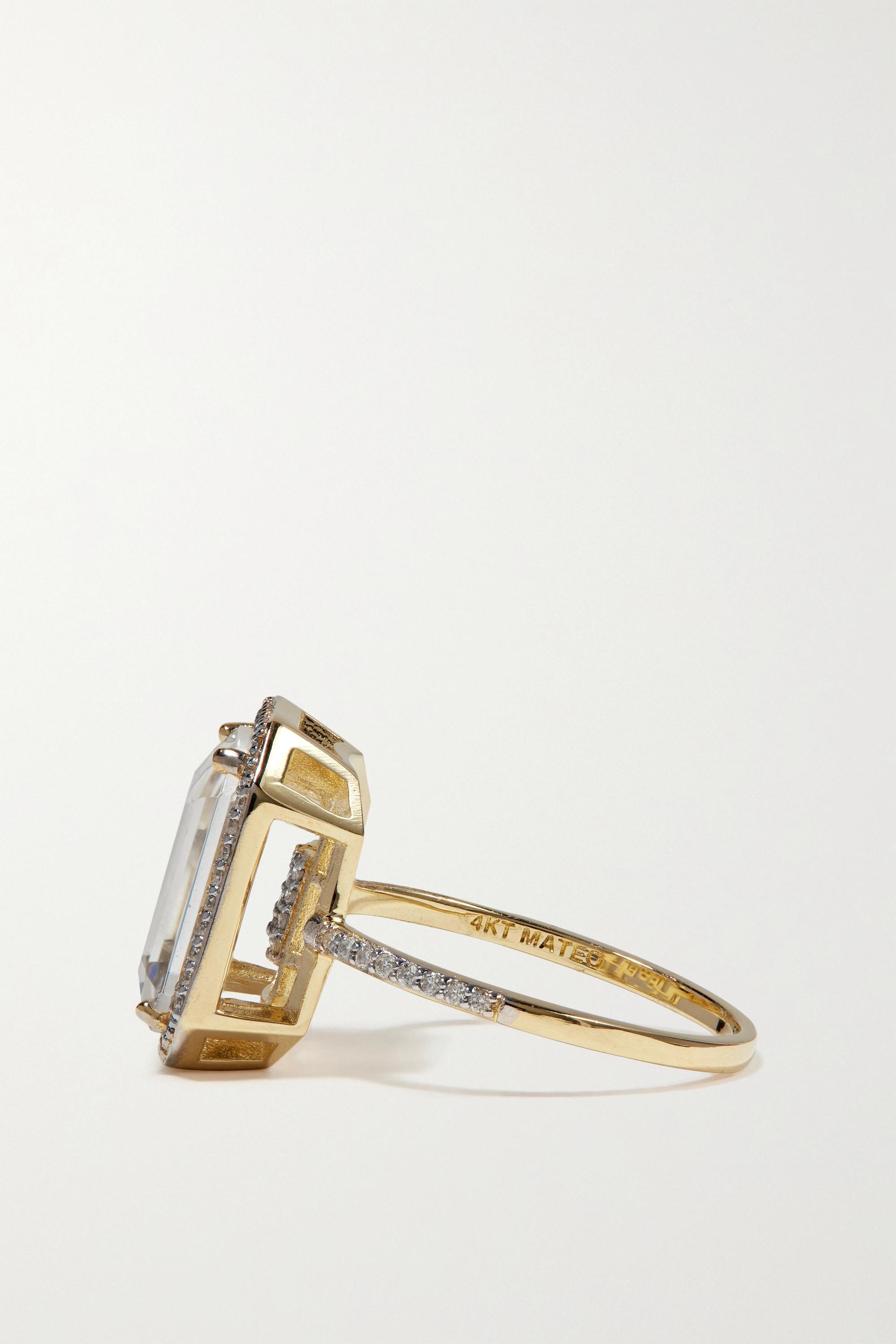 Mateo 14-karat gold, crystal and diamond ring