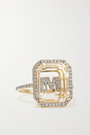 Mateo 14-karat gold, crystal and diamond ring