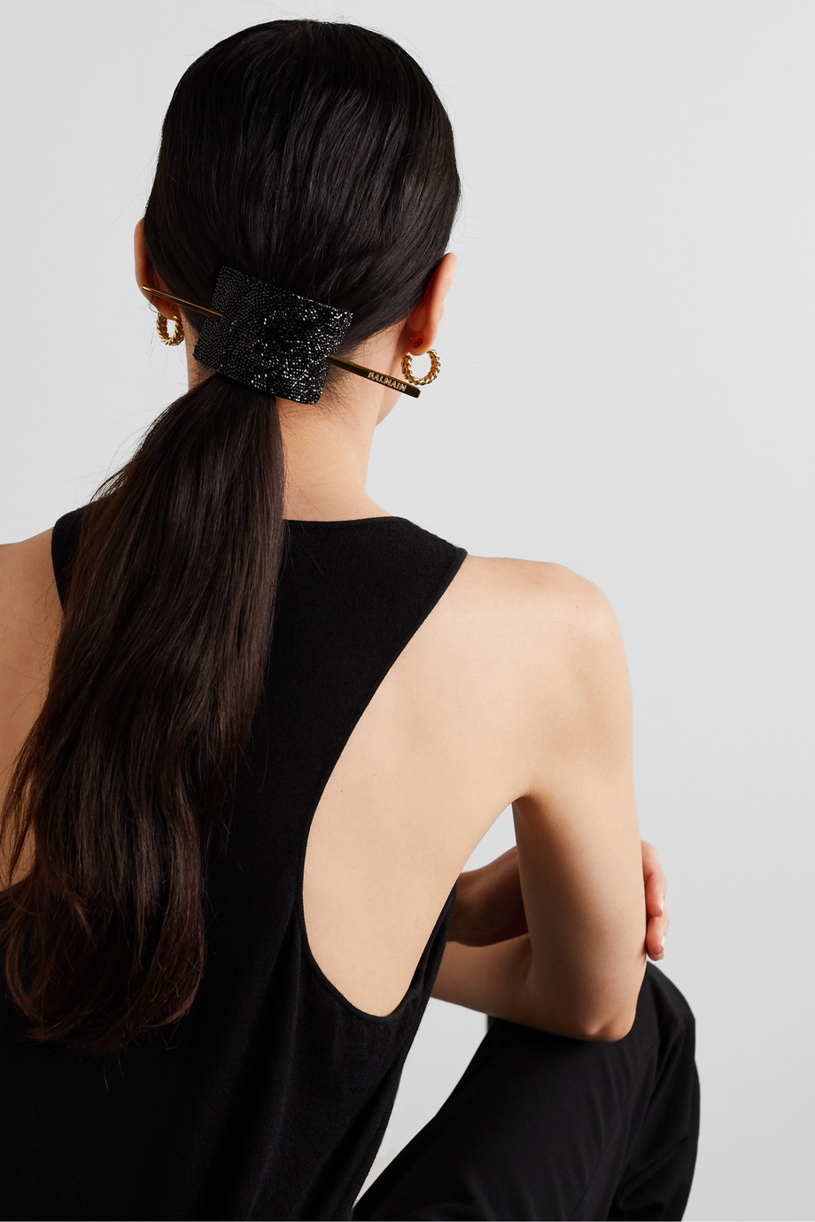Balmain Paris Hair Couture Gold-tone, crystal and leather hair pin
