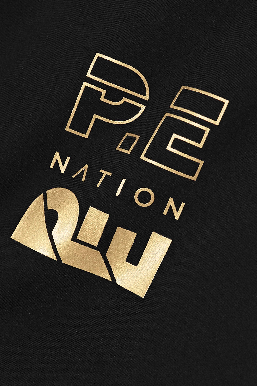 P.E NATION Sidelined Stretch-Leggings mit Partie in Metallic-Optik