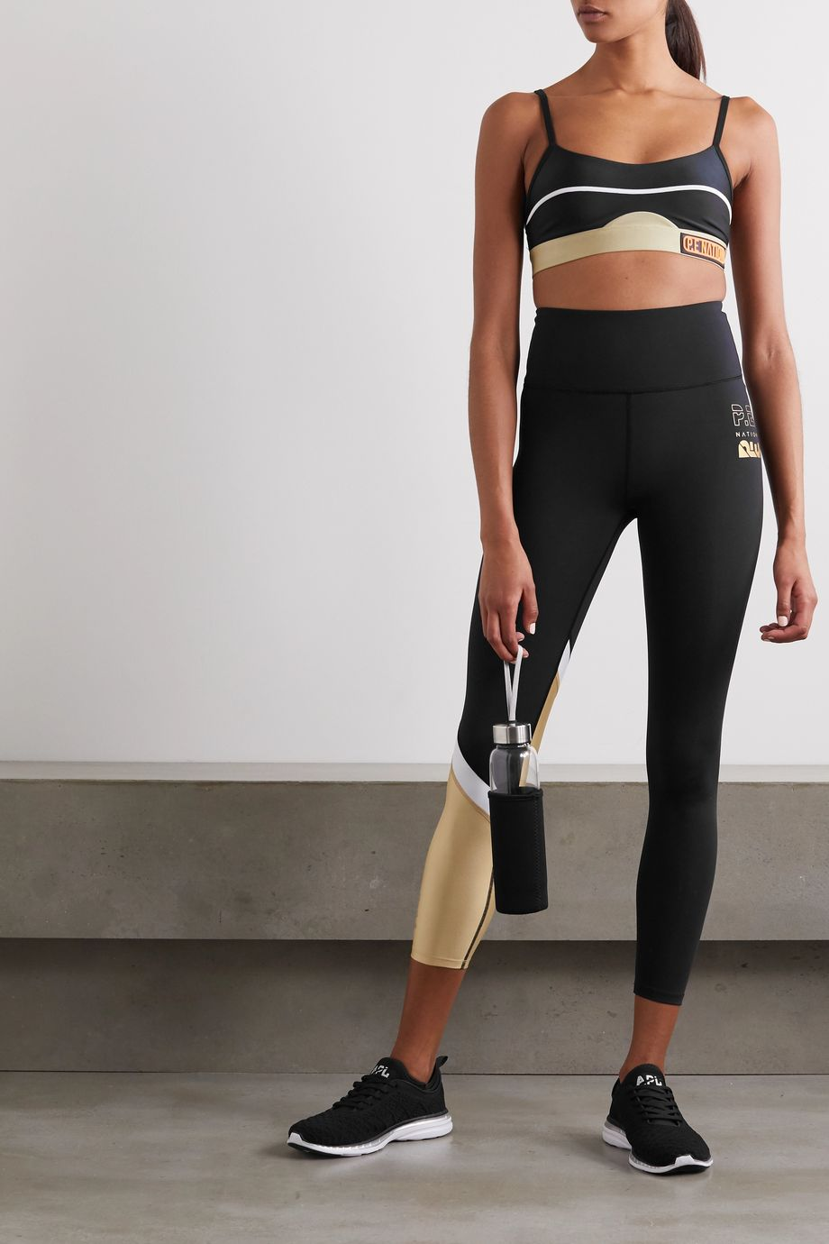 P.E NATION Sidelined paneled metallic stretch leggings