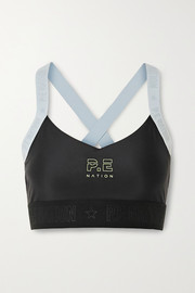 P.E NATION Bar Down printed stretch sports bra