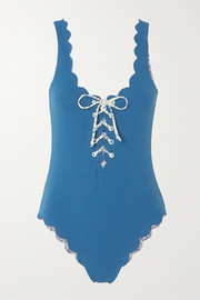 Marysia Palm Springs reversible scalloped lace-up stretch-crepe swimsuit