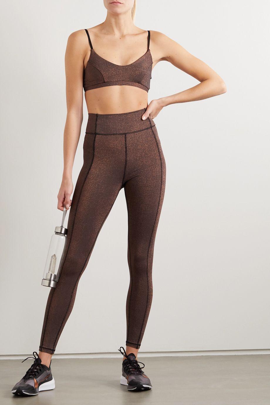 The Upside Aquarius Dance metallic stretch leggings