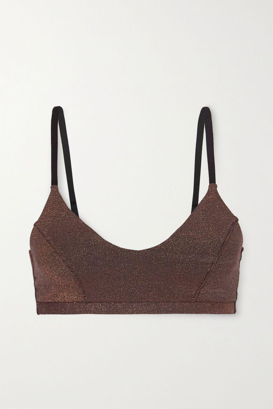 The Upside Aquarius Ballet metallic stretch sports bra
