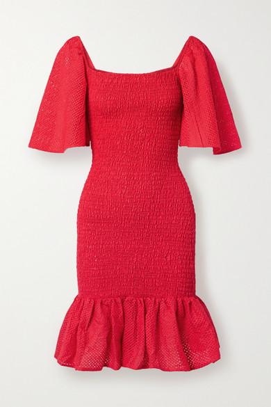 Marysia SMOCKED PERFORATED COTTON MINI DRESS