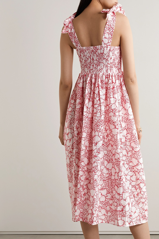 Marysia Sicily smocked floral-print perforated cotton midi dress