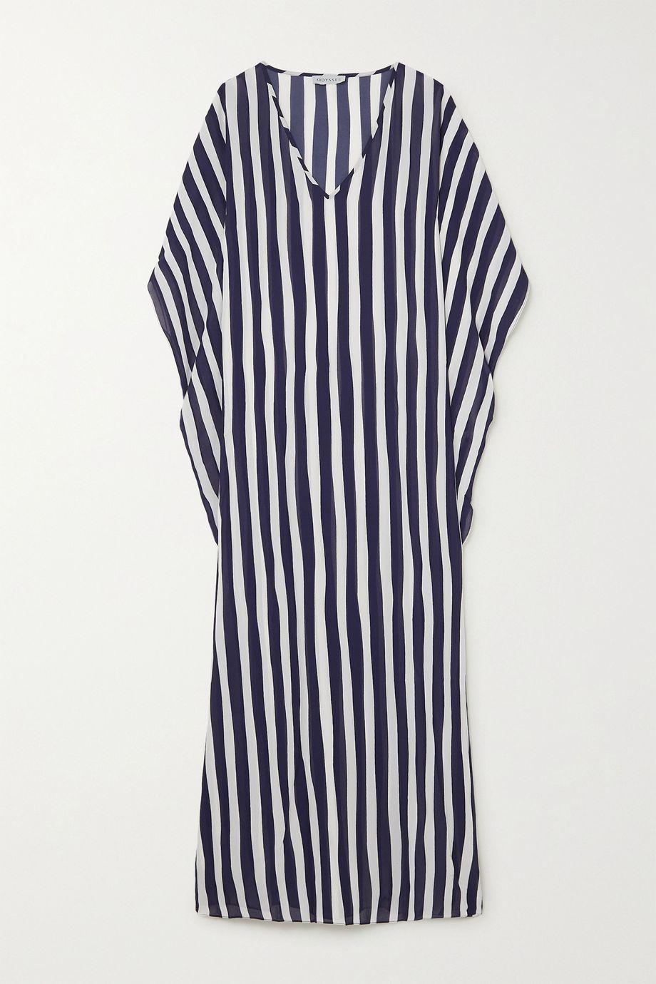 Odyssee Beau 垂坠条纹雪纺绸长罩衫裙