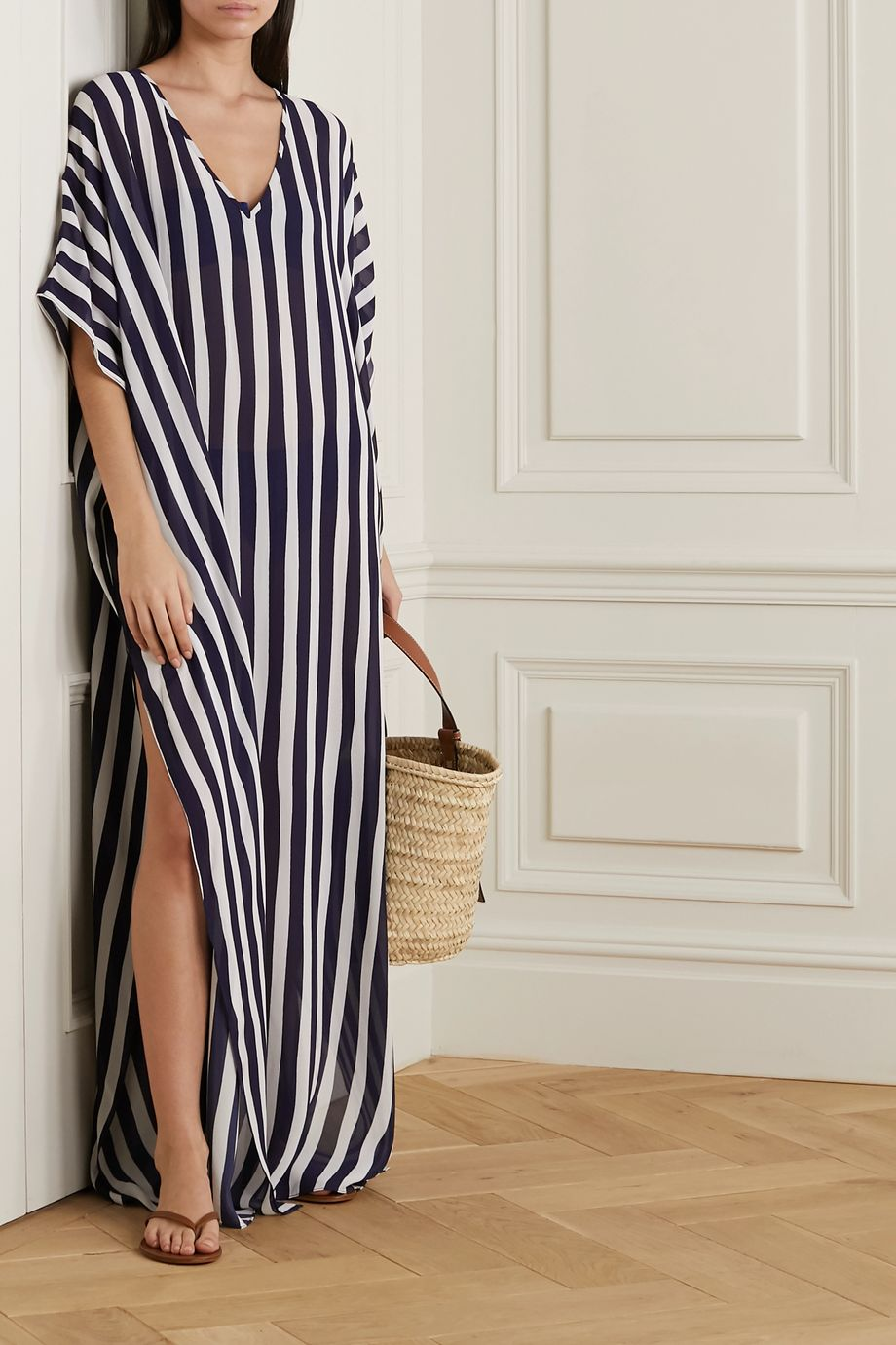 Odyssee Beau draped striped chiffon kaftan