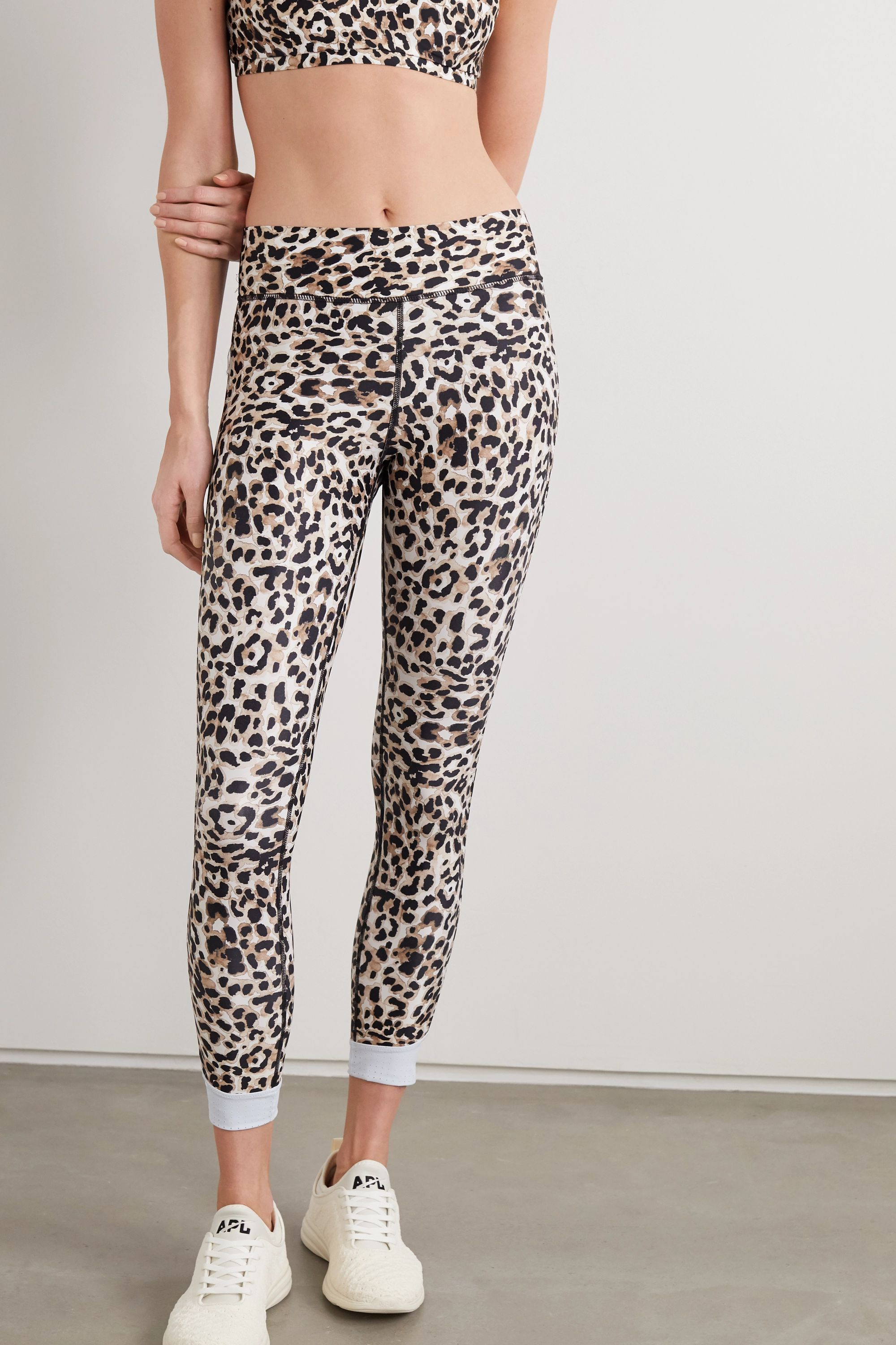 The Upside Water Leopard cropped printed stretch leggings