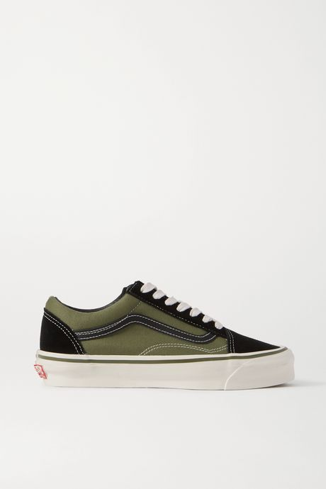 Army green Old Skool two-tone leather-trimmed canvas and suede sneakers | Vans hBVyv4