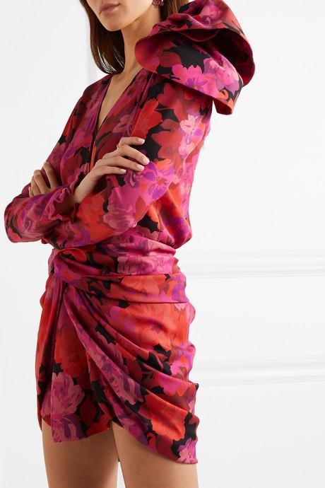 Hoorne twist-front floral-print silk mini dress