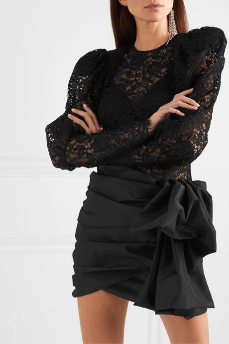 Matera panelled lace and gathered taffeta mini dress
