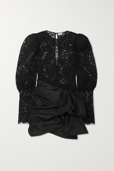 matera-panelled-lace-and-gathered-taffeta-mini-dress by magda-butrym